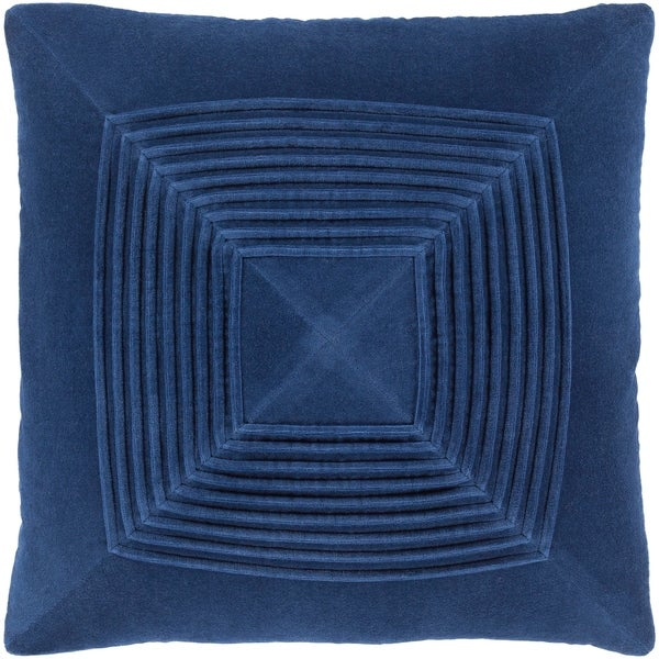 Quadratum Velvet Navy Feather Down Fill Throw Pillow 18-inch