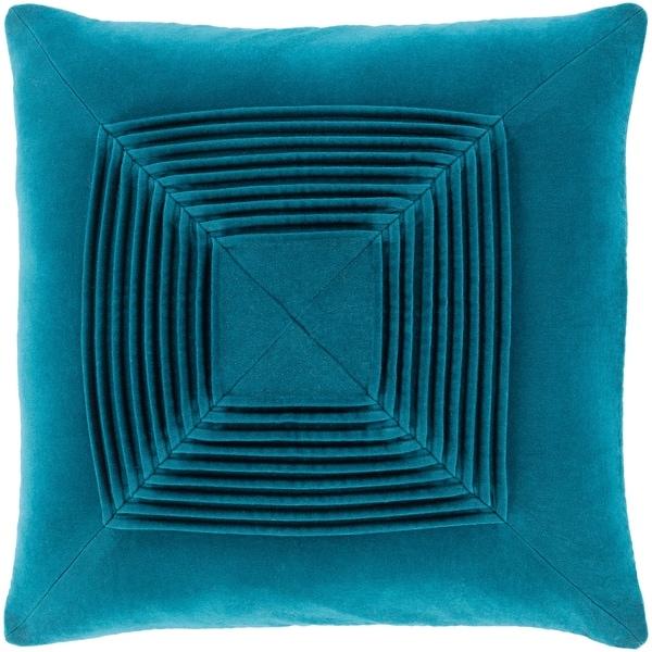 Quadratum Velvet Teal Throw Pillow Cover 22-inch