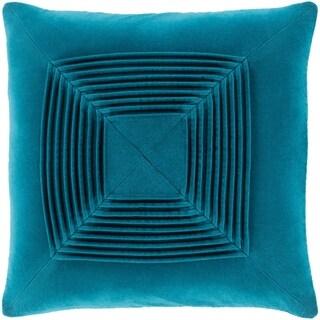 Quadratum Velvet Teal Feather Down Fill Throw Pillow 18-inch