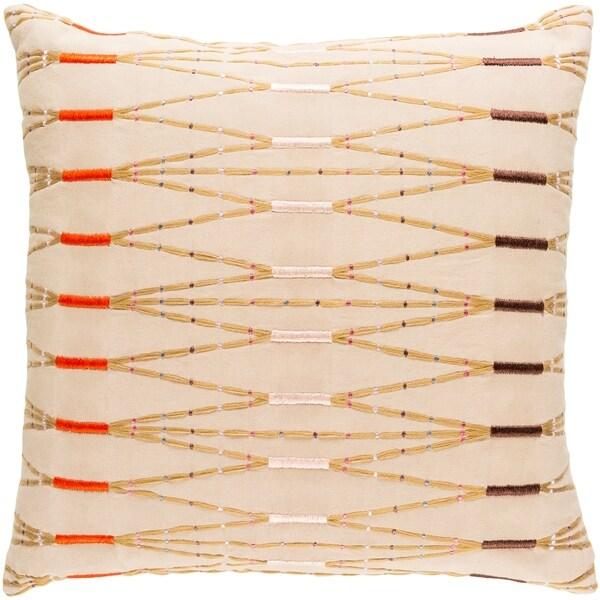Decorative Sarreguemines Cream 22-inch Throw Pillow Cover
