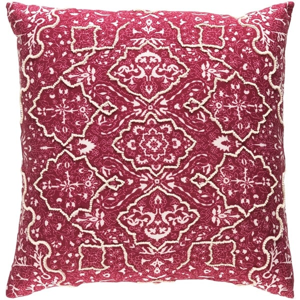 Decorative Saintes Maroon 18-inch Throw Pillow Cover