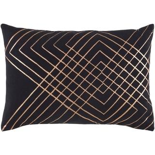 "Decorative Rosa Black 13"" x 19"" Throw Pillow Cover"