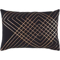 "Decorative Rosa Black 13"" x 19"" Throw Pillow Cover"