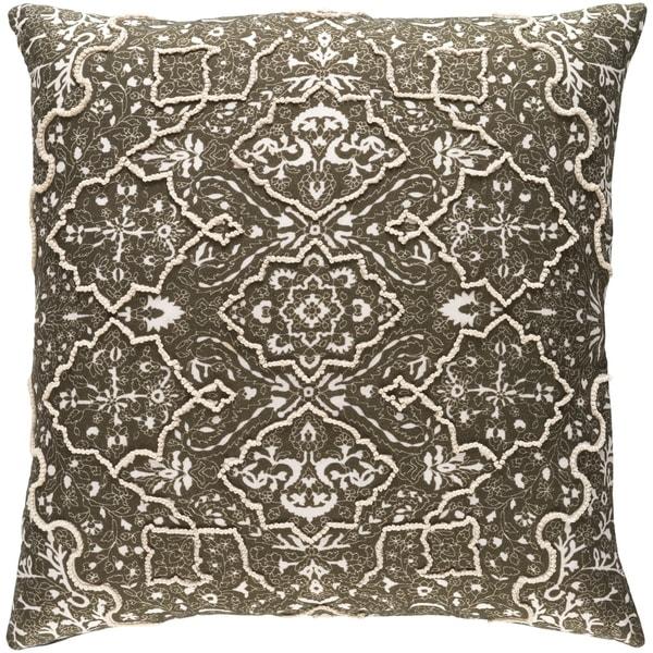Decorative Saintes Dark Olive 22-inch Throw Pillow Cover