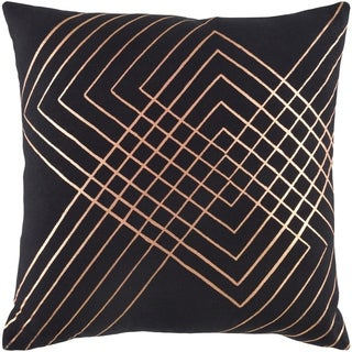 Decorative Rosa Black 22-inch Throw Pillow Cover