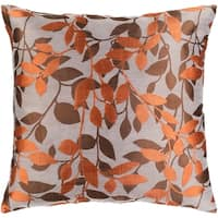 Decorative Skegness Rust 18-inch Leaves Throw Pillow Cover