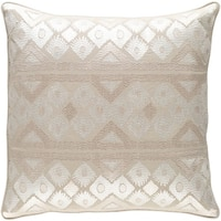 Decorative Sigatoka Khaki 18-inch Throw Pillow Cover