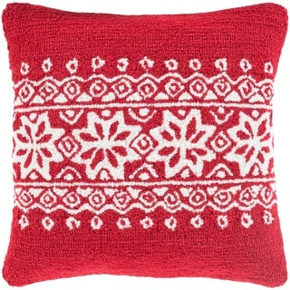 Decorative Thionville Red 18 in. Holiday Throw Pillow Cover