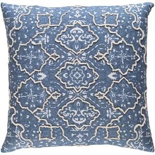 Decorative Saintes Denim 22-inch Throw Pillow Cover