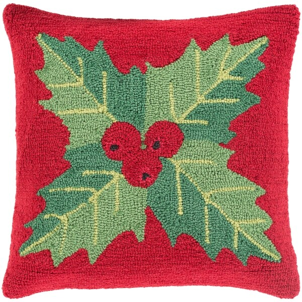 Shop Thatcham 40 In Red Winter Plant Holiday Throw Pillow Cover Enchanting Winter Throw Pillow Covers