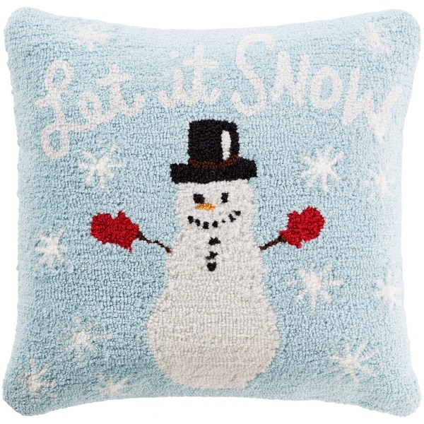 Shop Townshend 40 In Sky Blue Winter Snowman Holiday Throw Pillow Simple Winter Throw Pillow Covers