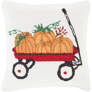 Tavua 18 in. White Pumpkins Holiday Throw Pillow Cover