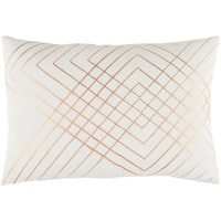 "Decorative Rosa White 13"" x 19"" Throw Pillow Cover"