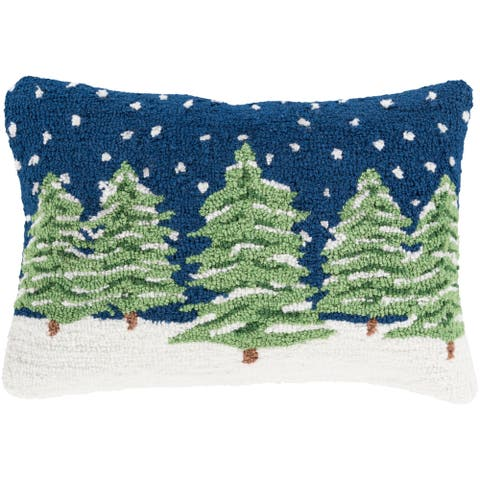 Tracie Navy Christmas Tree Holiday Throw Pillow Cover (13 x 19)