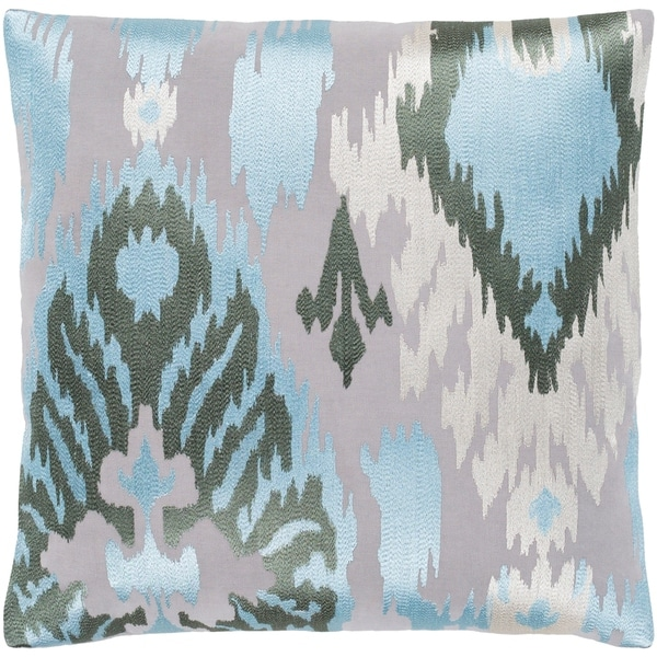 """Dobra Grey Embroidered Ikat Feather Down Throw Pillow (22"""" x 22"""")"""