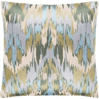 """Virgil Light Blue Embroidered Ikat Feather Down Throw Pillow (18"""" x 18"""")"""