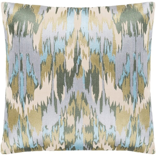 """Virgil Light Blue Embroidered Ikat Poly Fill Throw Pillow (22"""" x 22"""")"""
