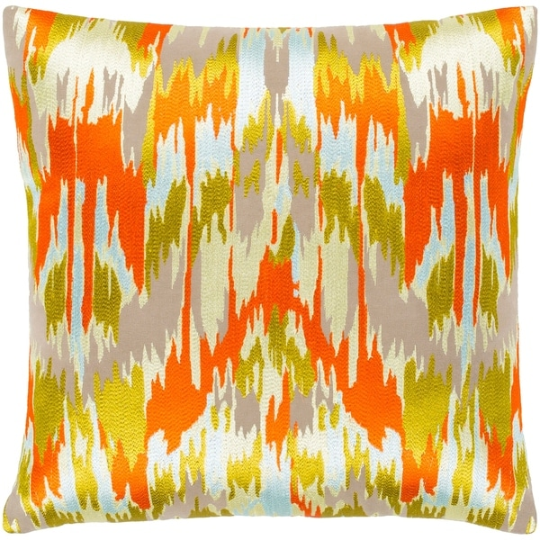 "Virgil Orange & Lime Embroidered Ikat Throw Pillow Cover (18"" x 18"")"