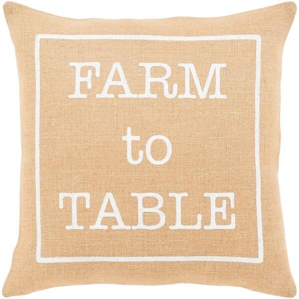 "Santiago Wheat Modern Farmhouse Throw Pillow Cover (18"" x 18"")"