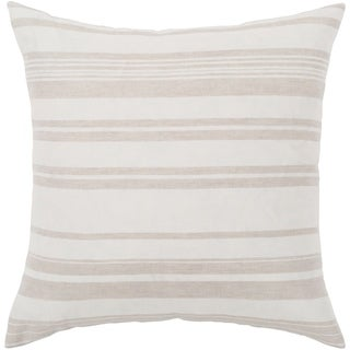 "Lawson Ivory & Beige Striped Feather Down Throw Pillow (20"" x 20"")"
