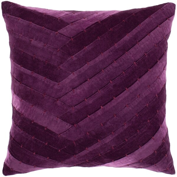 "Evangeline Purple Stitched Velvet Poly Fill Throw Pillow (18"" x 18"")"