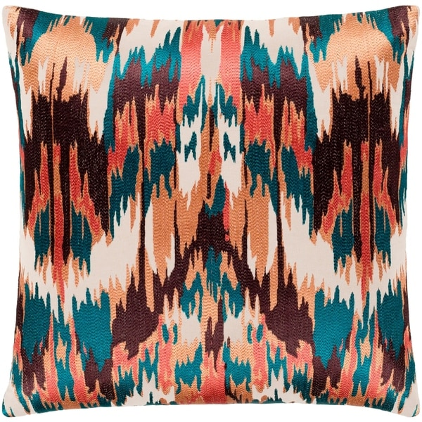 """Virgil Peach & Emerald Embroidered Ikat Poly Fill Throw Pillow (22"""" x 22"""")"""