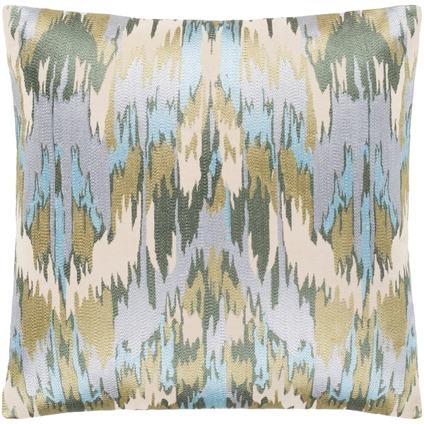 """Virgil Light Blue Embroidered Ikat Feather Down Throw Pillow (22"""" x 22"""")"""