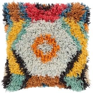 "Greyson Multi-color Bohemian Shag Poly Fill Throw Pillow (20"" x 20"")"