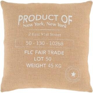 """Lilliana Wheat Modern Farmhouse Feather Down Throw Pillow (22"""" x 22"""")"""