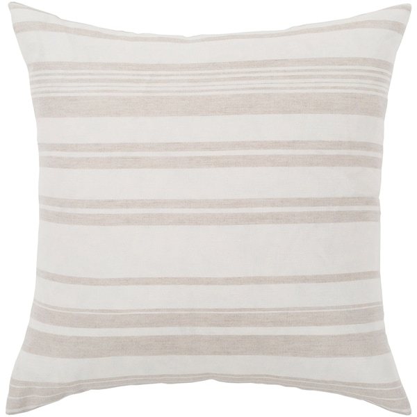 """Lawson Ivory & Beige Striped Poly Fill Throw Pillow (20"""" x 20"""")"""