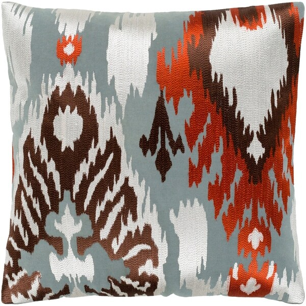 """Dobra Rust & Grey Embroidered Ikat Poly Fill Throw Pillow (22"""" x 22"""")"""