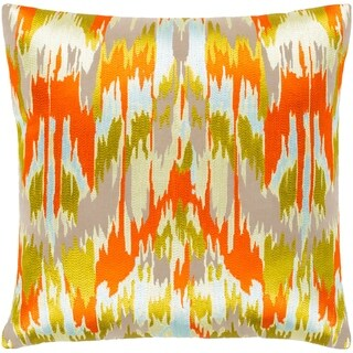 """Virgil Orange & Lime Embroidered Ikat Feather Down Throw Pillow (22"""" x 22"""")"""