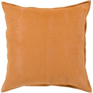 "Carson Carrington Tastebol Orange Solid Chenille Throw Pillow Cover (22"" x 22"")"
