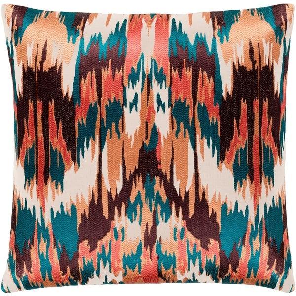"Virgil Peach & Emerald Embroidered Ikat Poly Fill Throw Pillow (20"" x 20"")"