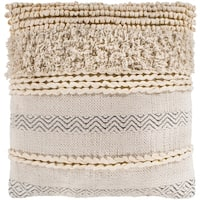 """Jules Ivory Bohemian Braided Throw Pillow Cover (18"""" x 18"""")"""