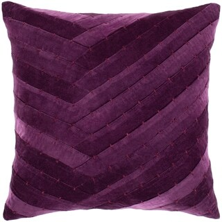"Evangeline Purple Stitched Velvet Poly Fill Throw Pillow (22"" x 22"")"