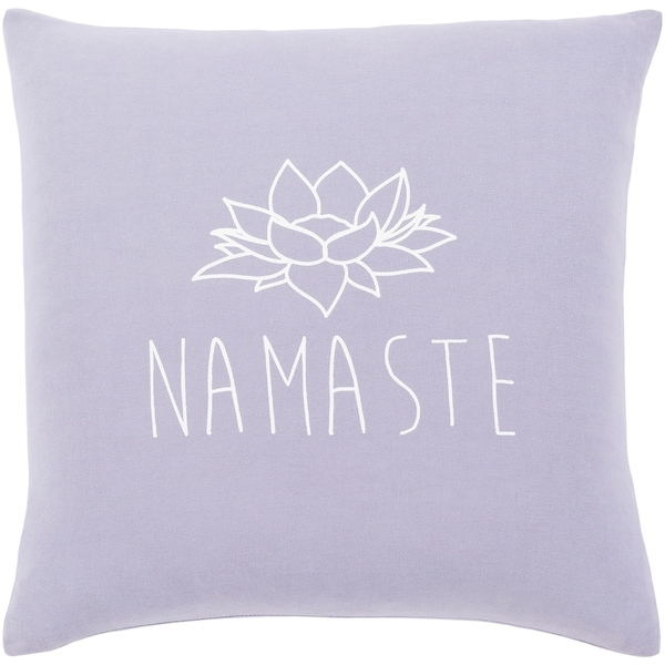 "Blessed Lavender ""Namaste"" Poly Fill Throw Pillow (18"" x 18"")"