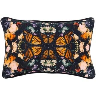 """Gracelyn Black Velvet Boho Kaleidoscope Throw Pillow Cover (13"""" x 19"""")"""
