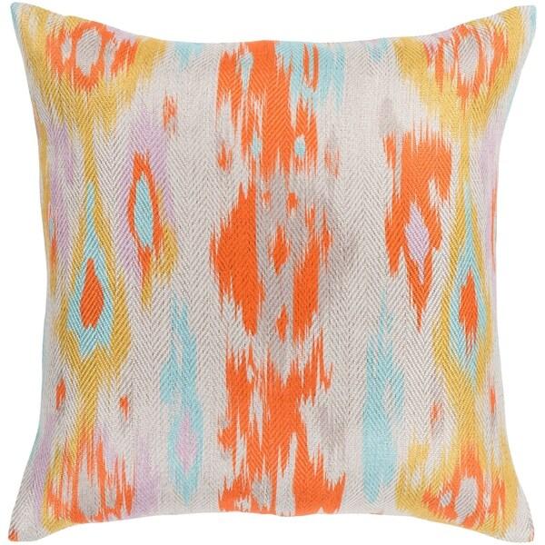 "Makayla Orange & Aqua Bohemian Ikat Feather Down Throw Pillow (18"" x 18"")"