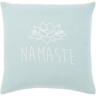 "Blessed Blue ""Namaste"" Feather Down Throw Pillow (18"" x 18"")"