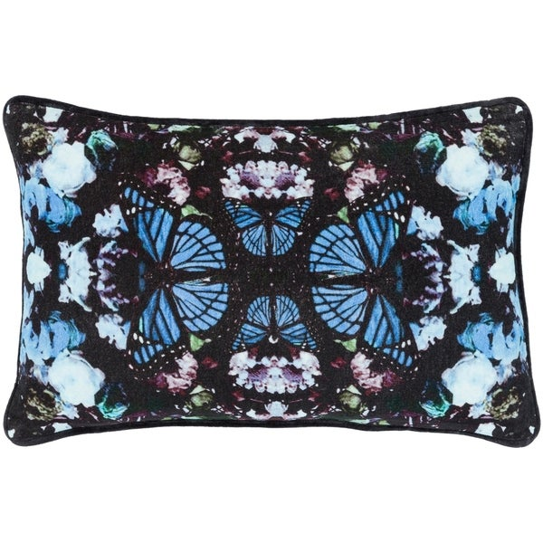 "Gracelyn Blue Velvet Boho Kaleidoscope Feather Down Throw Pillow (13"" x 19"")"