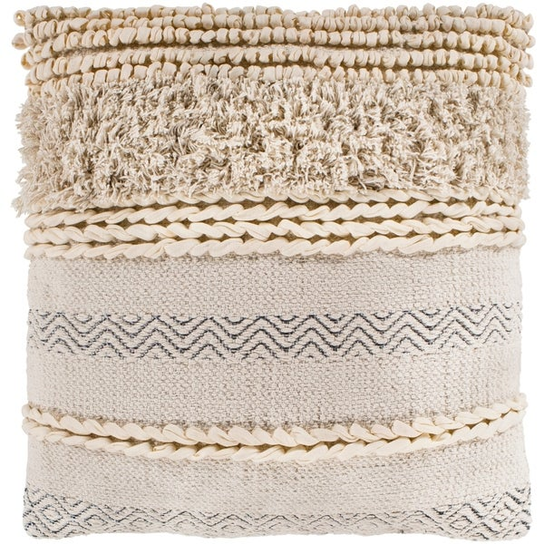 "Jules Ivory Bohemian Braided Poly Fill Throw Pillow (20"" x 20"")"