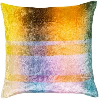 "Morpheus Yellow & Aqua Crushed Velvet Poly Fill Throw Pillow (20"" x 20"")"
