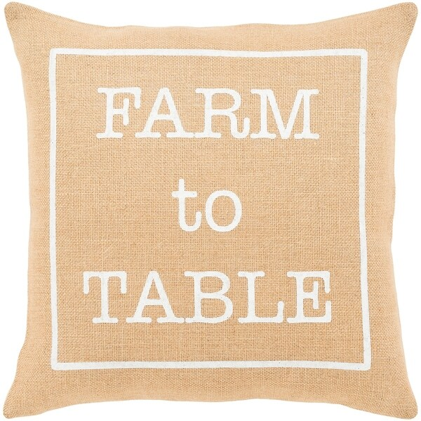 "Santiago Wheat Modern Farmhouse Feather Down Throw Pillow (20"" x 20"")"