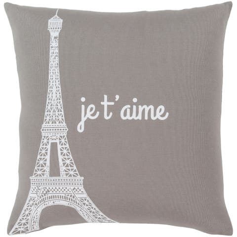 """Ariella Medium Grey """"Je t'aime"""" Throw Pillow Cover (18"""" x 18"""")"""