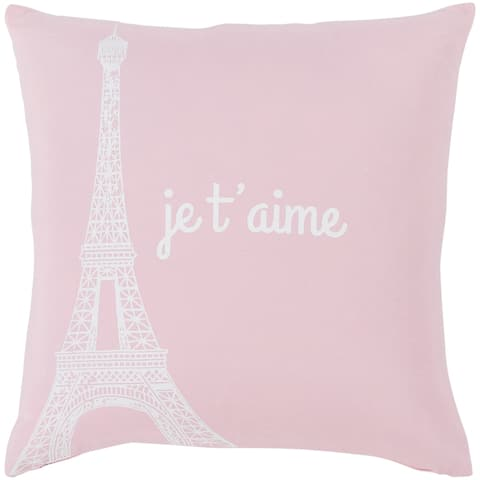 """Ariella Blush """"Je t'aime"""" Throw Pillow Cover (18"""" x 18"""")"""