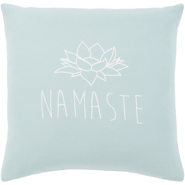 "Blessed Blue ""Namaste"" Feather Down Throw Pillow (20"" x 20"")"