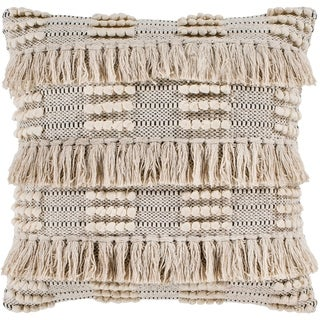 "Embra Beige Bohemian Fringe Throw Pillow Cover (20"" x 20"")"