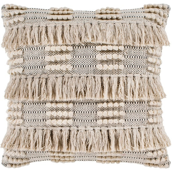 """Embra Beige Bohemian Fringe Poly Fill Throw Pillow (22"""" x 22"""")"""