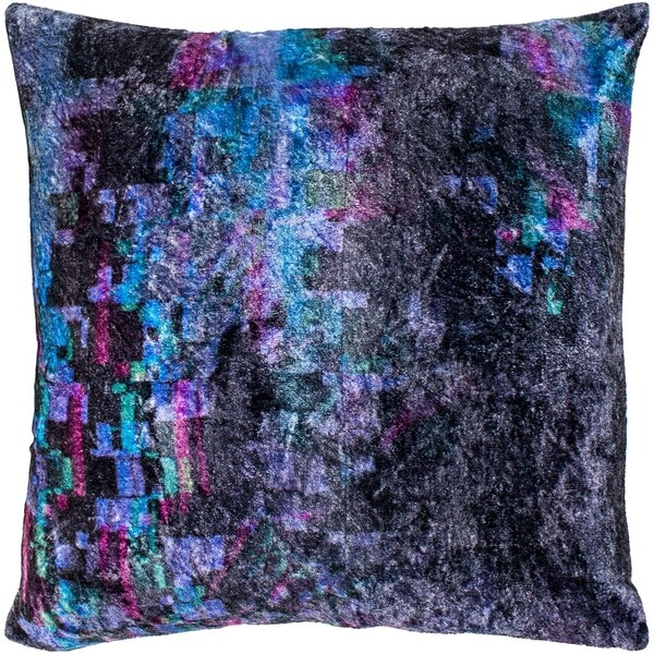 """Cyber Black & Emerald Crushed Velvet Throw Pillow Cover (22"""" x 22"""")"""